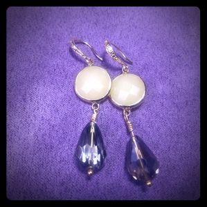 Yellow Chalcedony and Smokey Crystal Drop Earrings